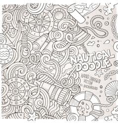 Cartoon nautical doodle frame vector image