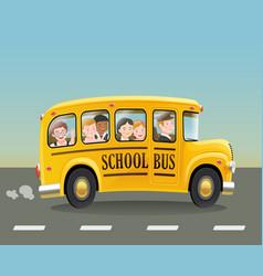 cartoon school bus with children vector image