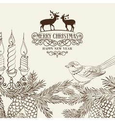 Christmas card with pinecone vector image