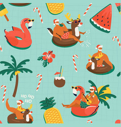 christmas seamless pattern with cute funny santa vector image