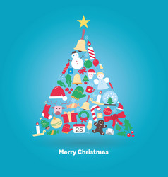 christmas tree made with icons vector image