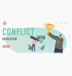 Conflict resolution landing page template vector