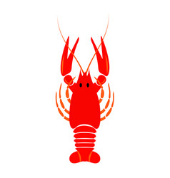 crayfish icon red river lobster langoustine vector image
