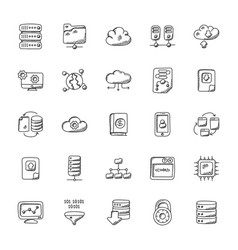 Database and storage flat icons vector
