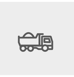 Dump truck thin line icon vector image