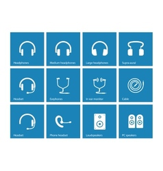 Earphones and speakers icons on blue background vector image