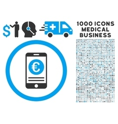 Euro Mobile Banking Icon with 1000 Medical vector