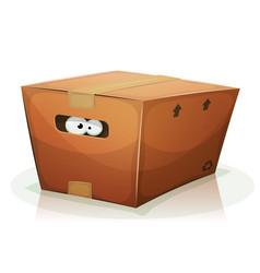 Eyes inside cardboard box vector