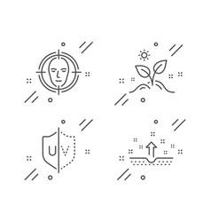 Face detect grow plant and uv protection icons vector
