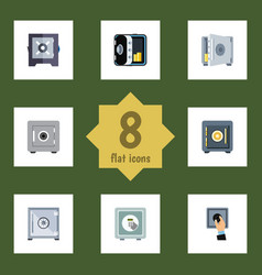 flat icon closed set of banking safe protection vector image