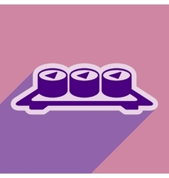 Flat with shadow icon sushi rolls on plate stylish vector