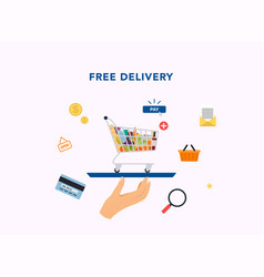 free service hand holding tray with food cart vector image