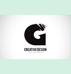 G letter logo design brush paint stroke artistic vector