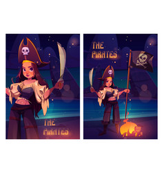 girl pirate with sword and black flag on beach vector image