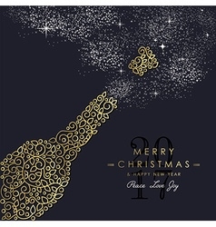 Gold Christmas and new year ornamental bottle vector image