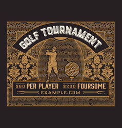 golf tournament template vintage style vector image