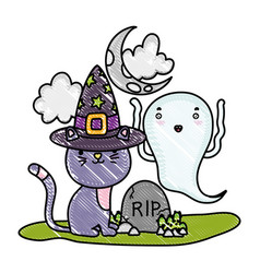 Grated cat with hat and funny ghost with rip vector