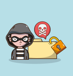 hacker and security system technology vector image