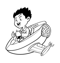 hand drawn boy drive aircraft-cartoon vector image