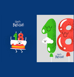 happy birthday card cake with candels number vector image