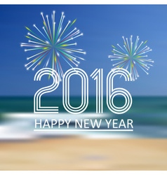 happy new year 2016 on the beach color background vector image