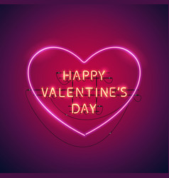 happy valentines day heart neon sign vector image