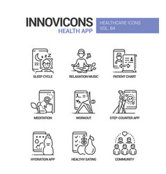 Health mobile app line design style icons set vector