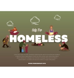 Help for homeless banner with hungry beggar vector