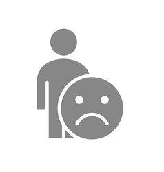 Human with unhappy emotions gray icon upset face vector