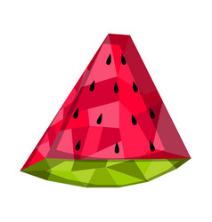Isolated geometric watermelon cut low poly vector