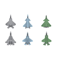 Jet fighter aircraft warfare set collection vector