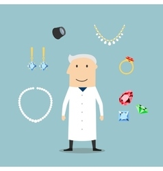 Jeweler man with jewelries and gems vector