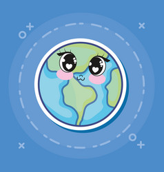 Kawaii earth planet icon vector