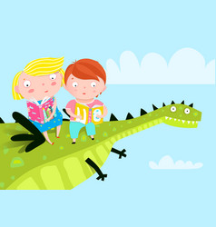 kids flying dragon reading books vector image