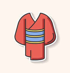 Kimono patch traditional japanese dress with obi vector