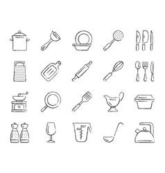 kitchenware charcoal draw line icons set vector image