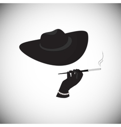 Lady in a hat with a cigarette in the mouthpiece vector