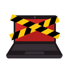 laptop computer with security tape vector image