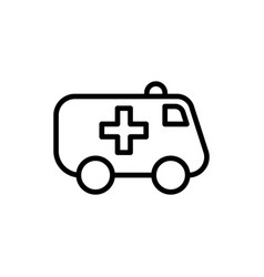 Line ambulance icon on white background vector