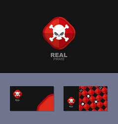 Logo Pirate business card for real pirate Skull vector image