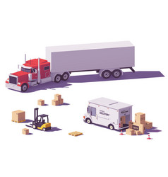 Low poly trucks and forklift vector