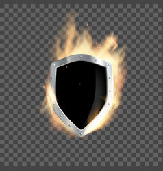metal heraldic shield burns with transparent flame vector image