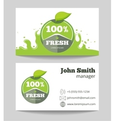 Organic fresh natural food business card vector