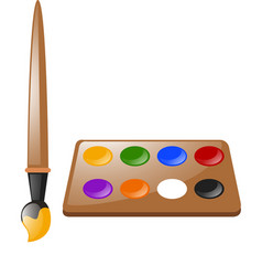 paintbrush and color palette vector image