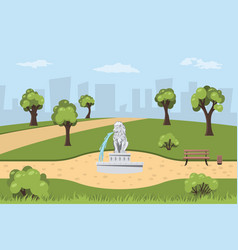 park with fountain in cartoon style vector image