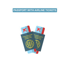 Passport with air ticket line icon vector