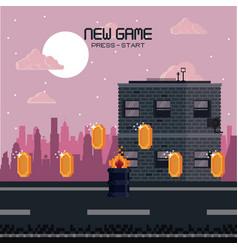 Pixelated city videogame scenery vector