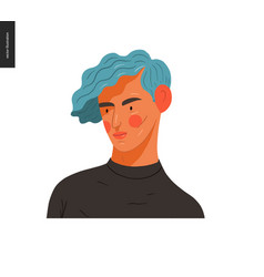 Real people portraits - blue-haired man vector