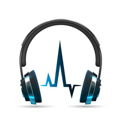realistic headphones with sound wave vector image