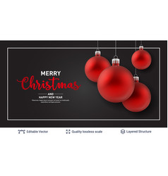 Red christmas balls and frame on dark background vector